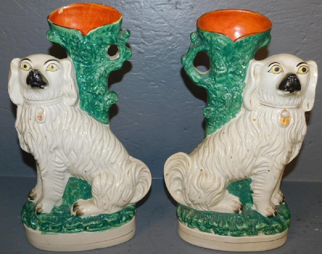Pair 19th century Staffordshire spill vase Spaniels.