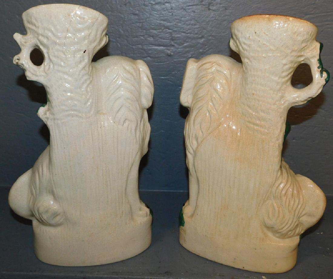 Pair 19th century Staffordshire spill vase Spaniels. - 2