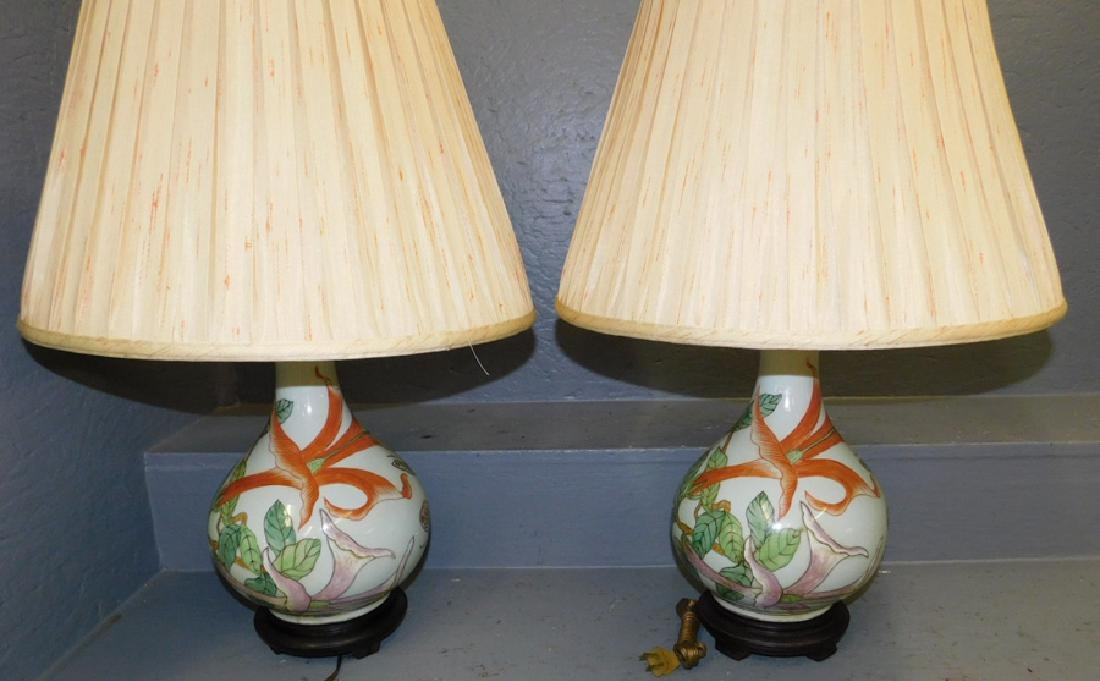 "Pair Maitland Smith oriental lamps. 26"" tall."