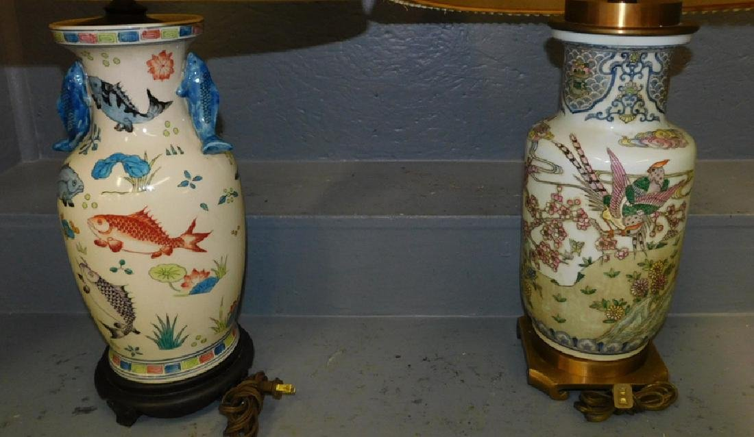 "2 Oriental type Maitland Smith lamps. 30"" tall."