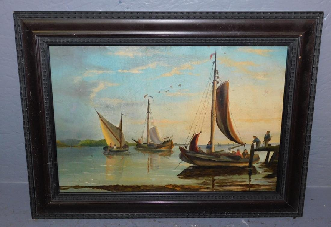 "Early nautical oil on board. 20 1/2"" x 15""."