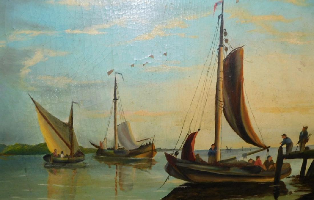 "Early nautical oil on board. 20 1/2"" x 15"". - 2"