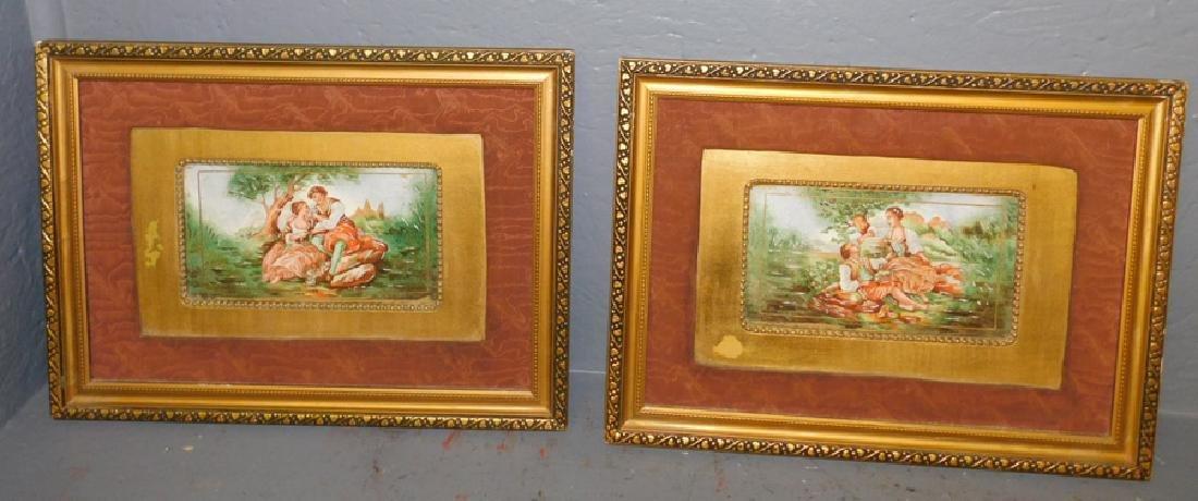 """2 framed porcelain enamel plaques. 16"""" x11 1/2""""."""