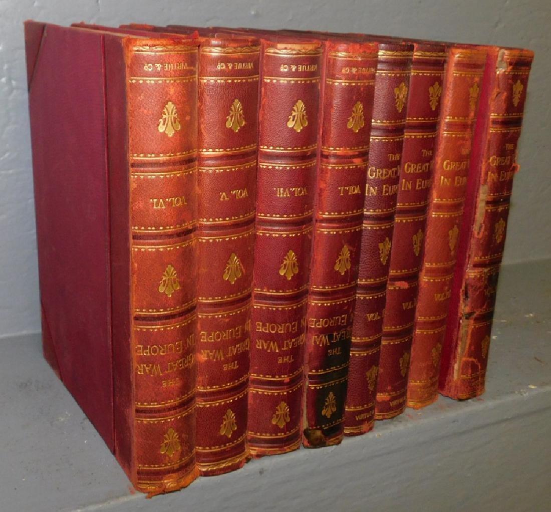 8 leather bound books.
