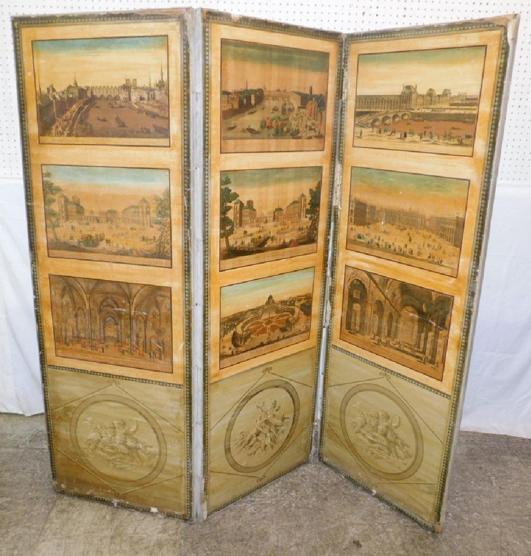 4 panel Italian scene painted decorators screen