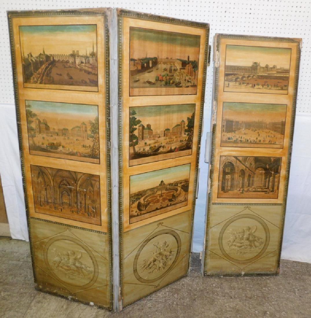 4 panel Italian scene painted decorators screen - 2