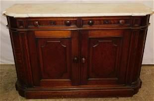 Walnut Victorian marble top side board