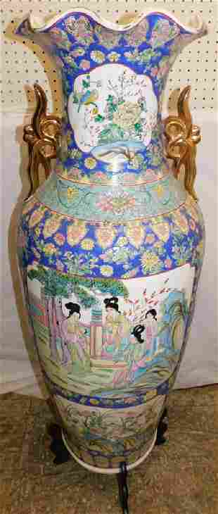Oriental palace vase with wooden base