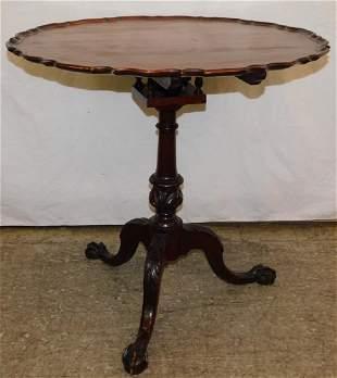 Bird cage mahog pie crust tilt top claw foot table