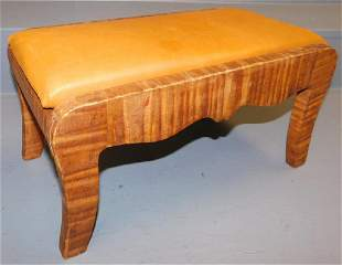 Tiger maple leather covered stool