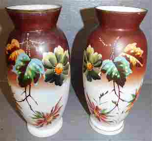 Pair of hand painted Bristol glass vases