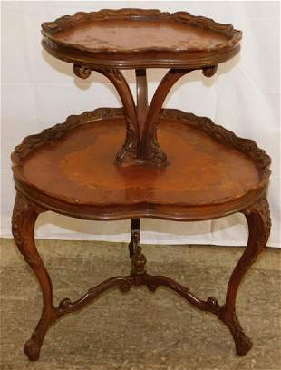 Carved Italian inlaid 2 tier table