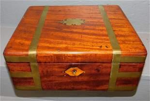Brass bound mahogany work box
