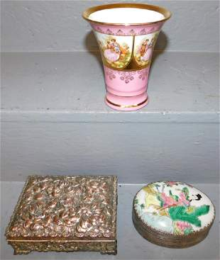 2 silverplate boxes and porcelain vase