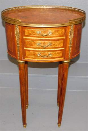 Inlaid oval 3 drawer French stand