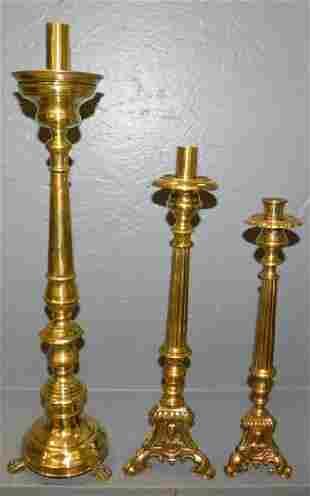 3 brass mid drip pan candlesticks
