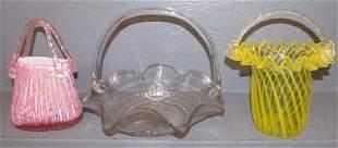3 Art glass baskets