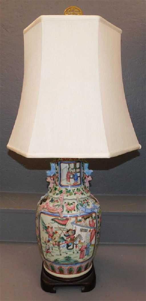 19th C Chinese Vase Lamp