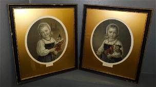 Pr hand colored engravings of young girls w/ dolls