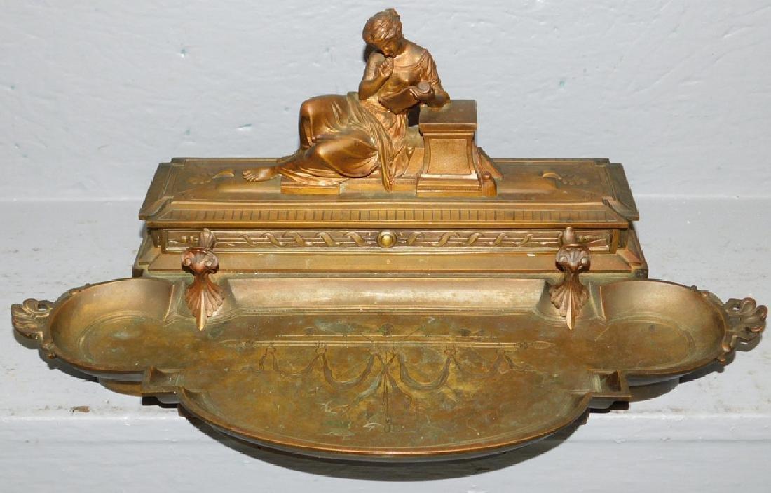 Leblanc Freres bronze inkwell.
