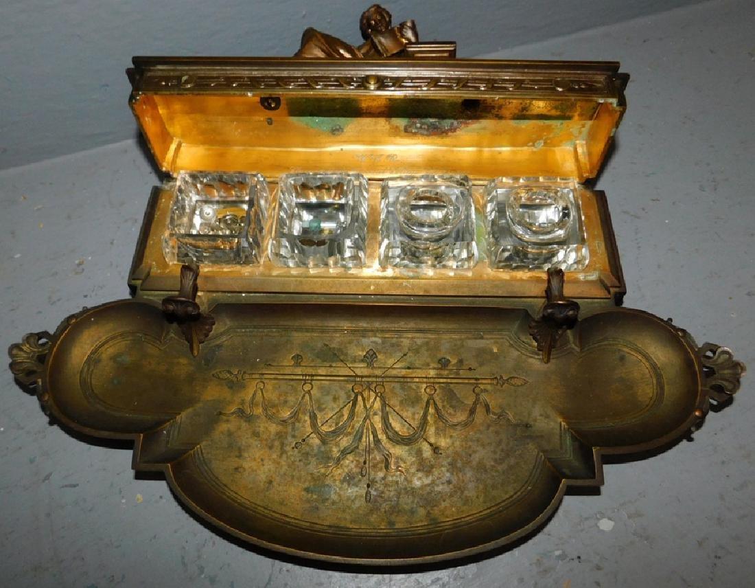 Leblanc Freres bronze inkwell. - 2