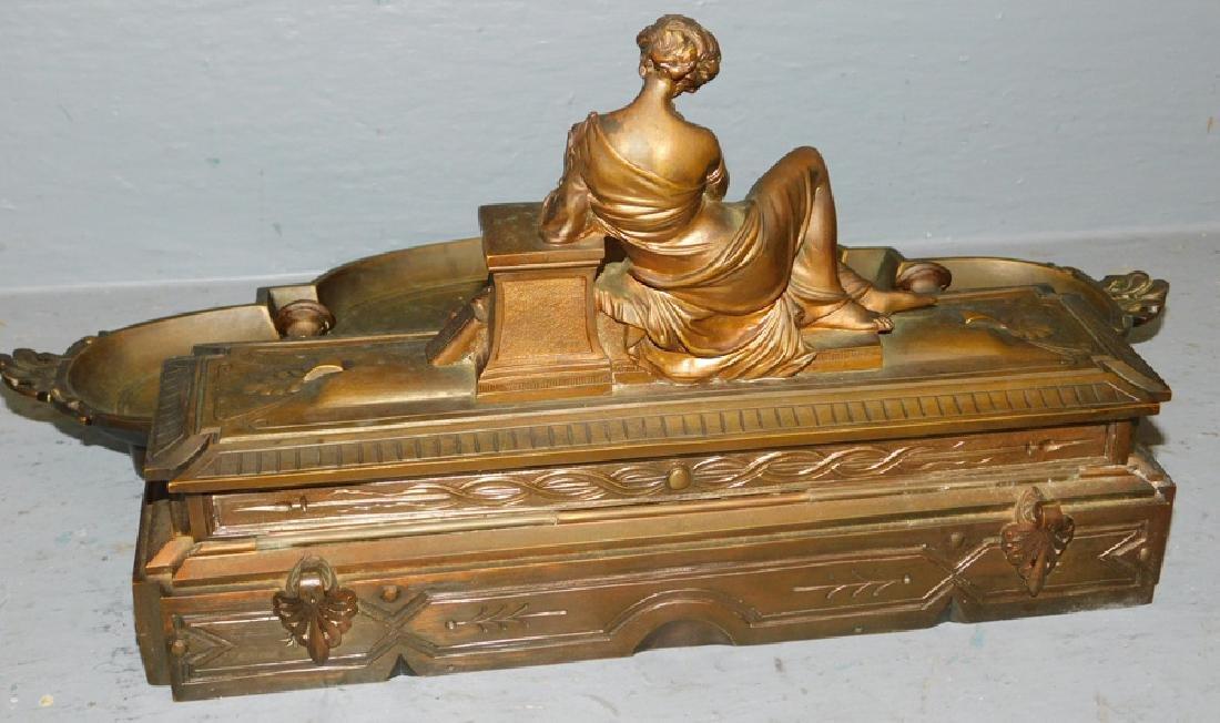 Leblanc Freres bronze inkwell. - 4