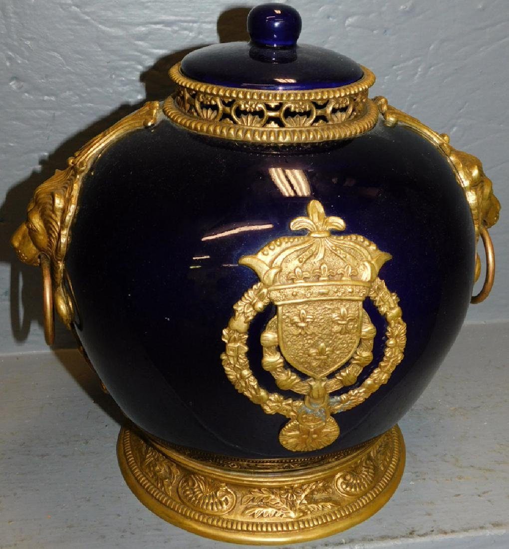 Cobalt & bronze lion mounted French covered urn