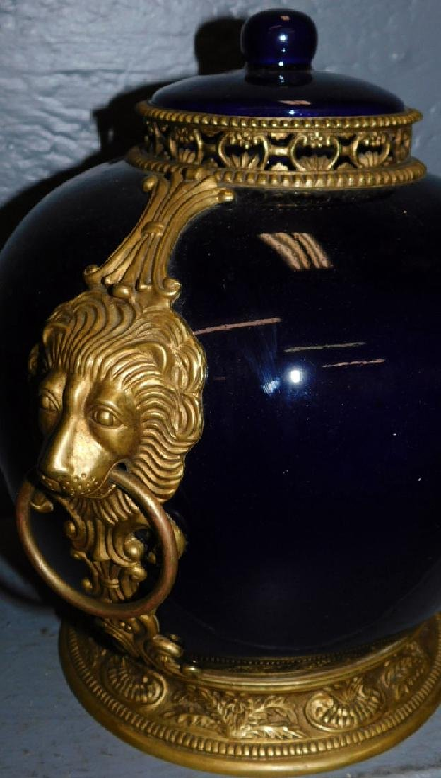 Cobalt & bronze lion mounted French covered urn - 2
