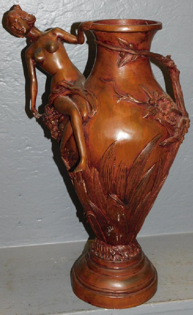 Bronze figural Art Nouveau vase.