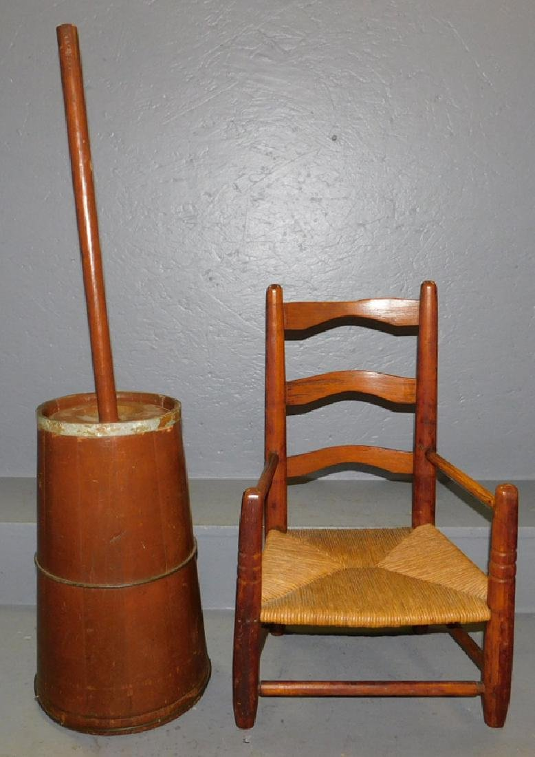 19th C child's ladderback chair & churn w/ dasher