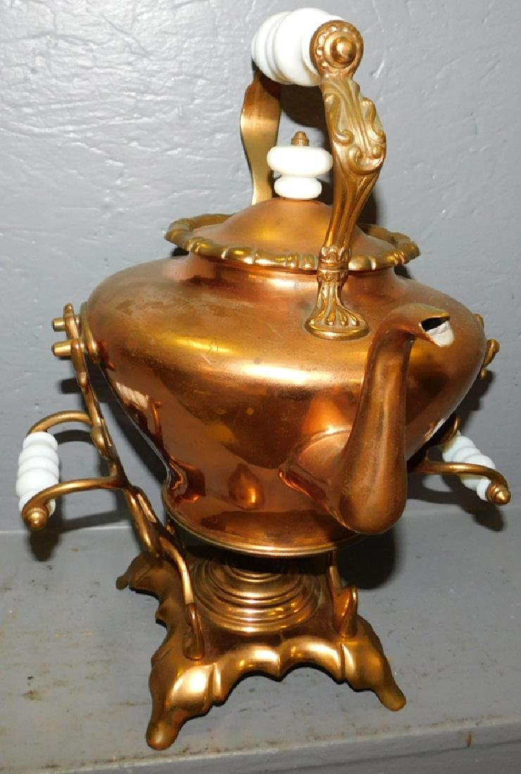 Early copper kettle on stand w/ milk glass handles
