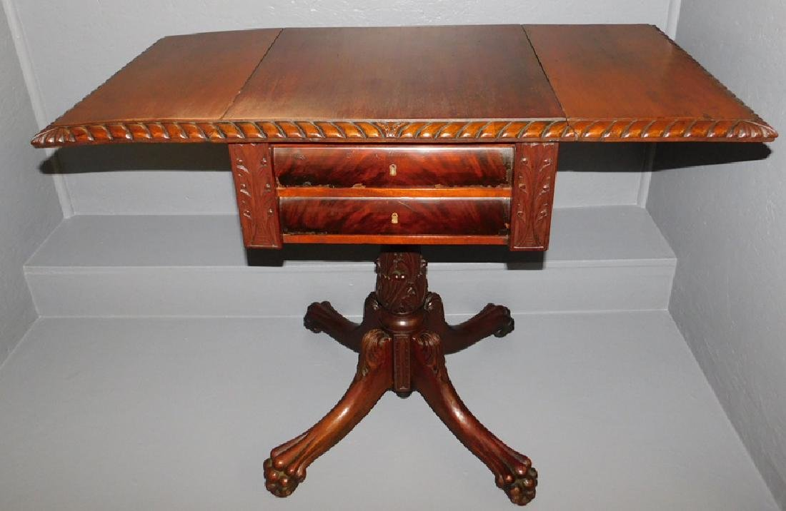 Carved mahogany claw foot drop leaf end table. - 2
