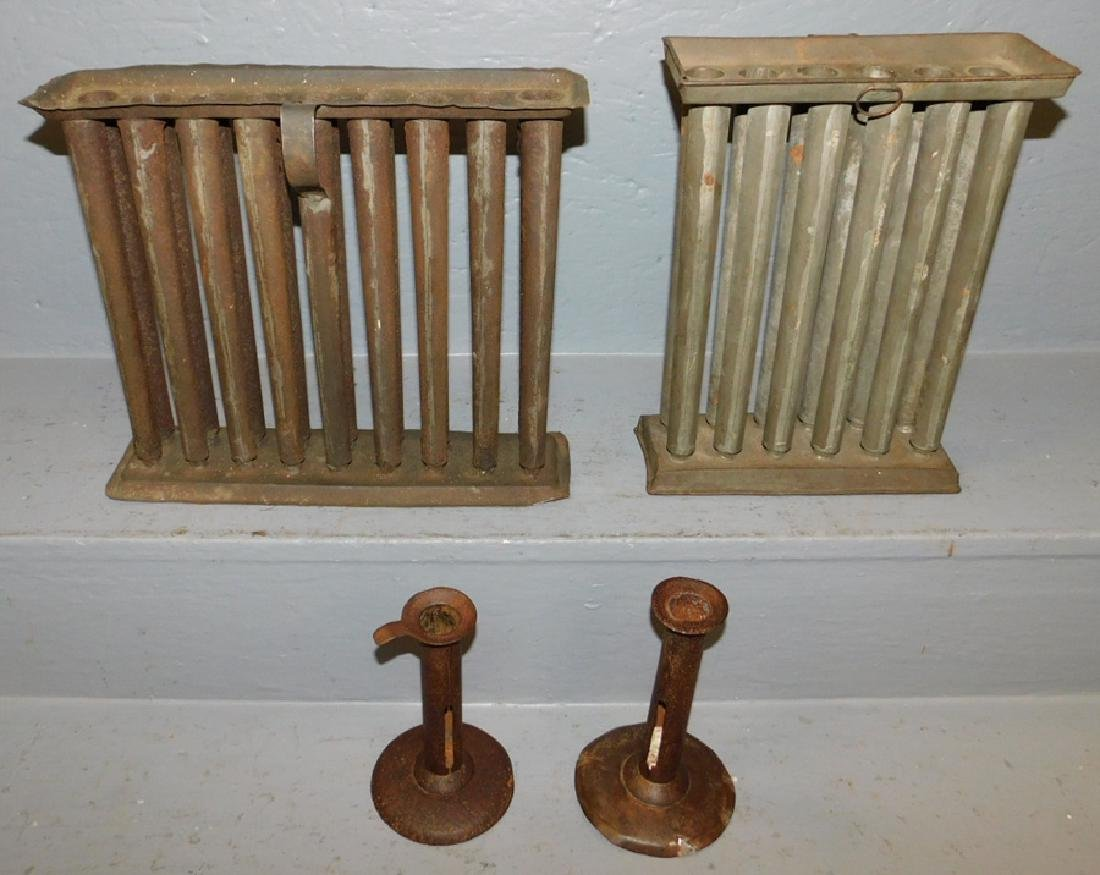 2 Tole candle molds & 2 tole c/stick hog scrapers.
