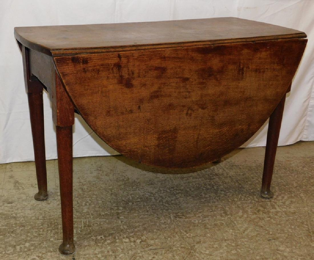 18th C English Oak Queen Anne drop leaf table.