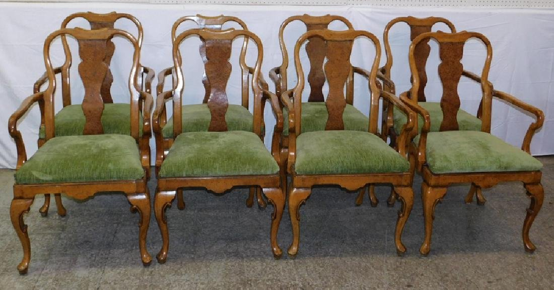 Set of 8 QA walnut & burl walnut arm chairs.