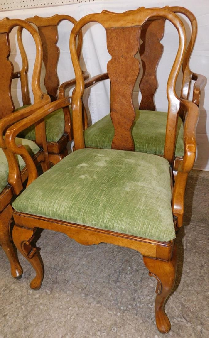 Set of 8 QA walnut & burl walnut arm chairs. - 2