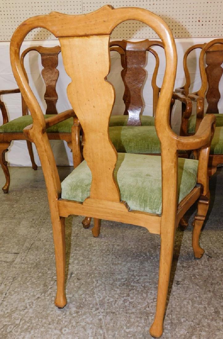 Set of 8 QA walnut & burl walnut arm chairs. - 3