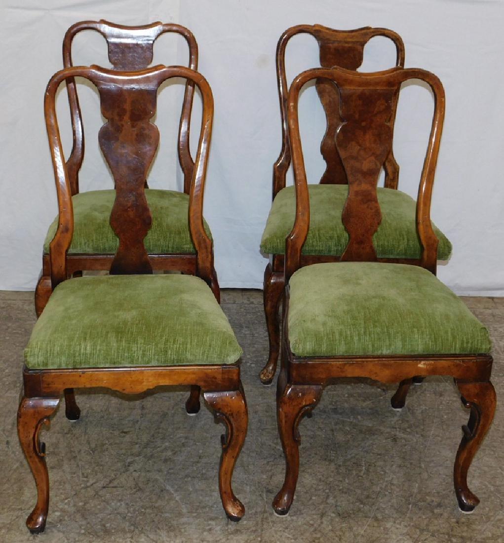 Set 4 walnut splat back QA chairs.