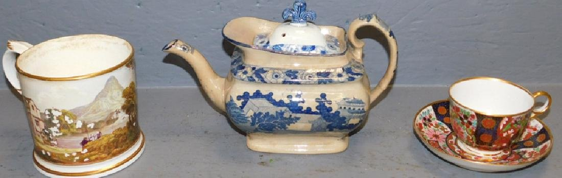 Early mug, tea pot & Doulton cup and saucer