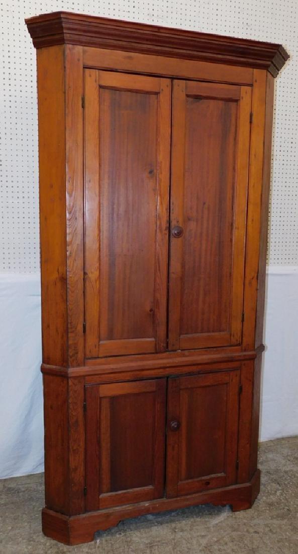 19th C pine one piece corner cupboard.
