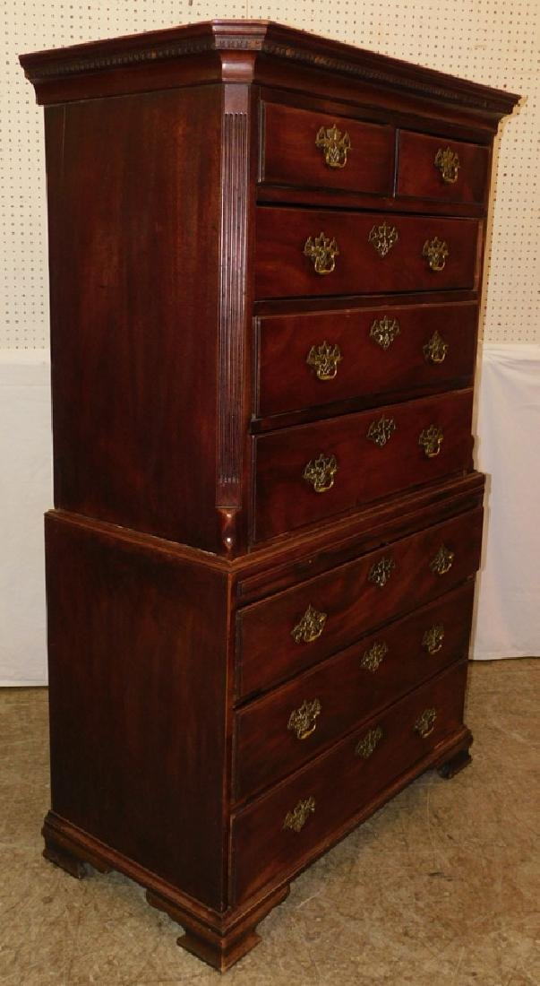 18th C mahogany chest on chest orig. pulls - 2