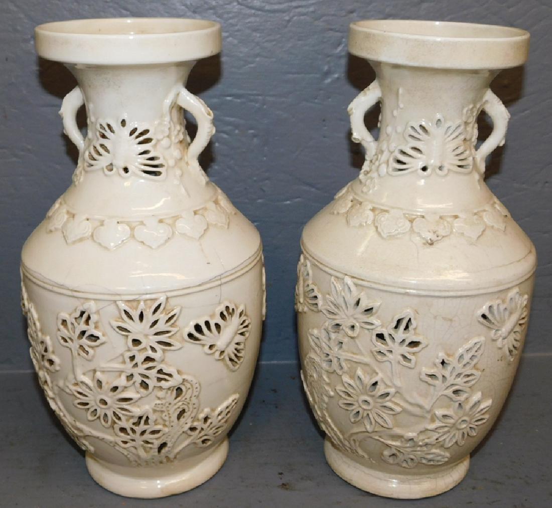 Pr. Oriental vases w/ craquelure throughout