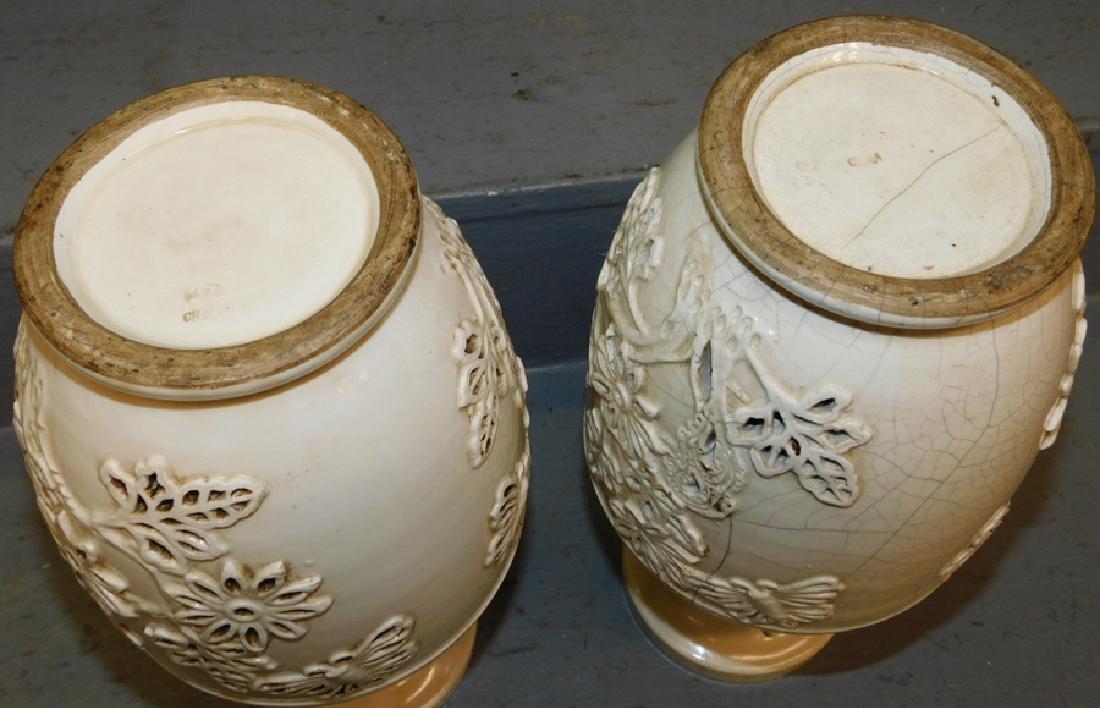 Pr. Oriental vases w/ craquelure throughout - 2