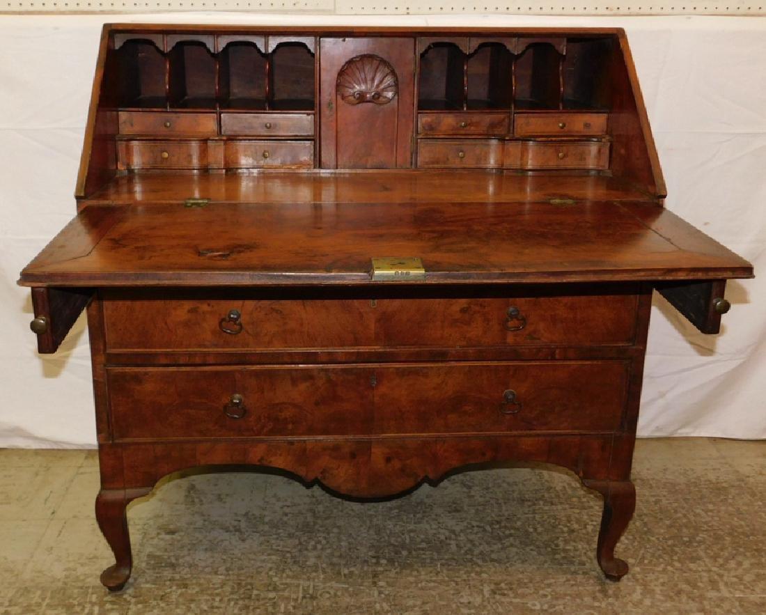 19th C burl front & walnut QA slant front desk - 2