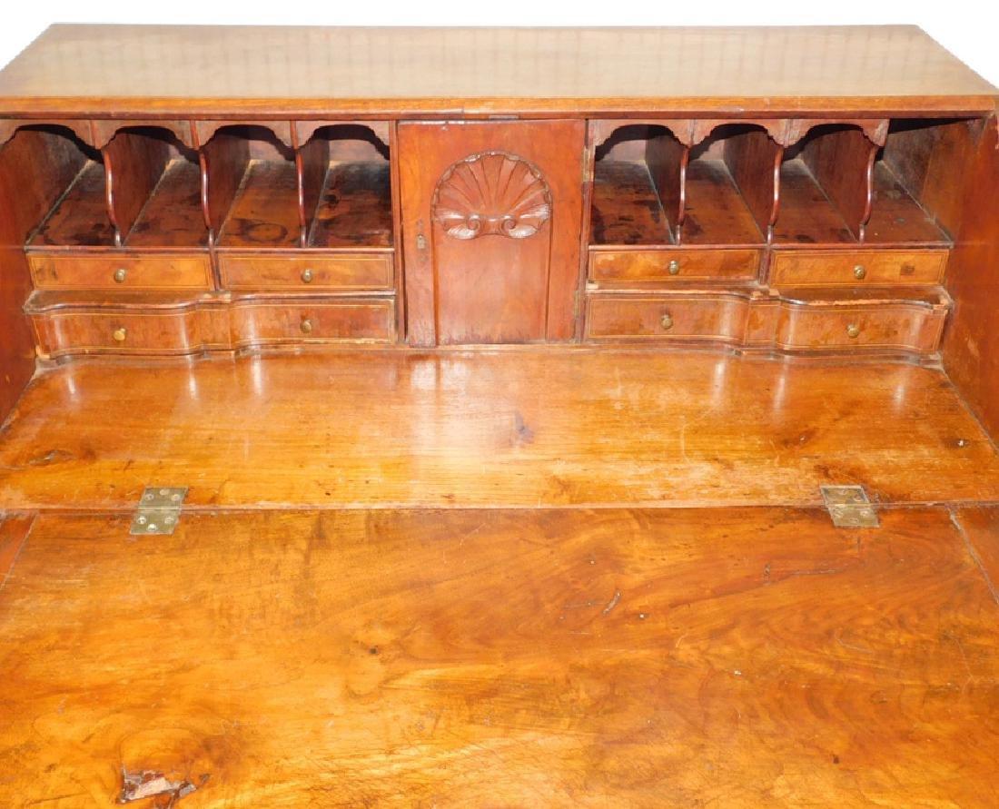 19th C burl front & walnut QA slant front desk - 3