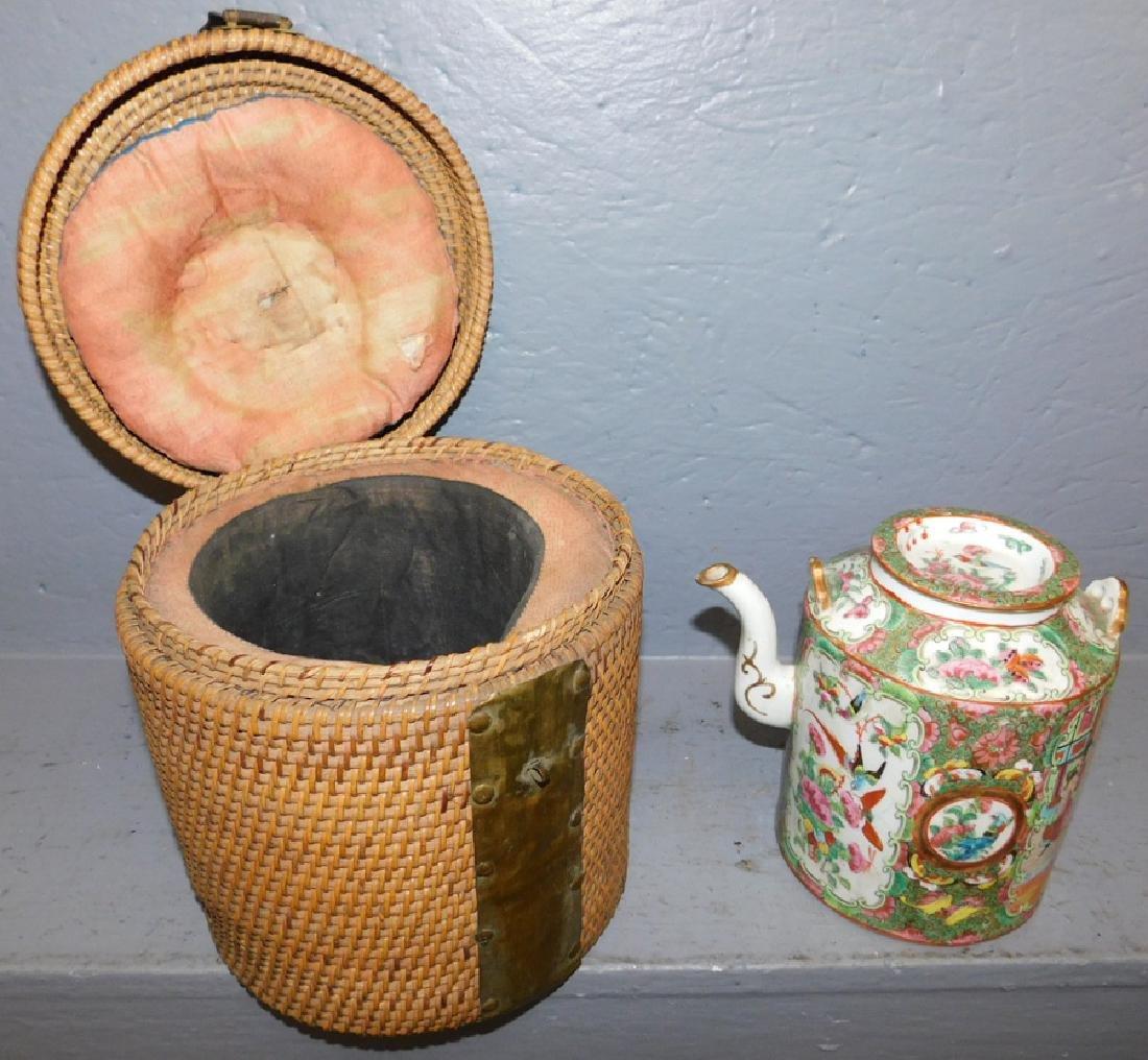 19th C Rose Medallion teapot with original basket