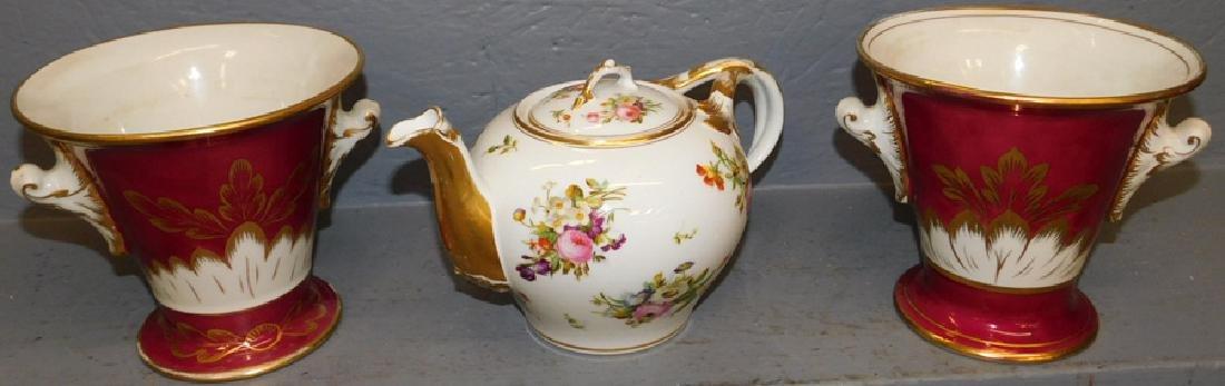 Pr. Old Paris cache pots & tea pot