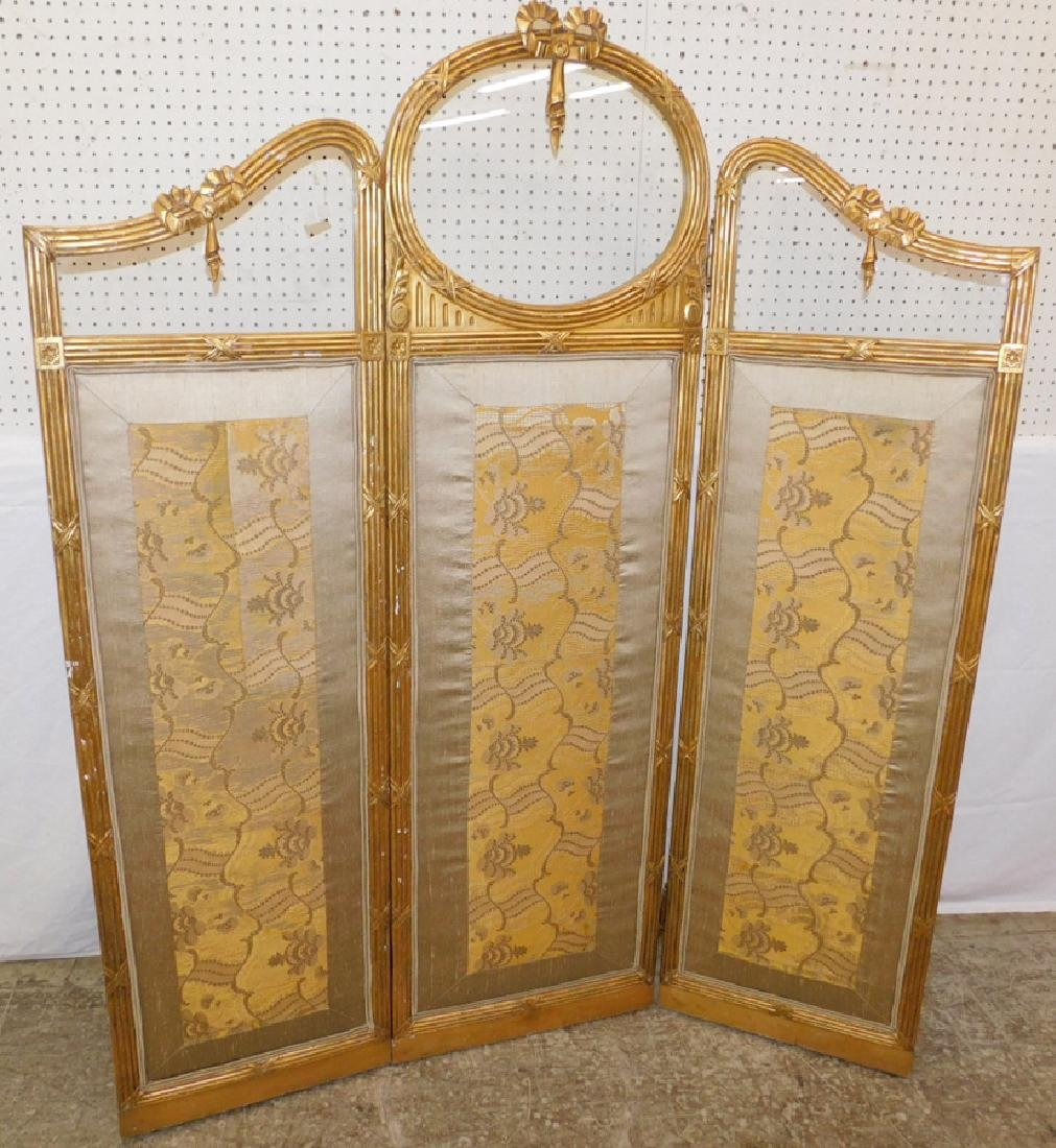 Glass top gilt wood 3-panel screen w/ linen bottom