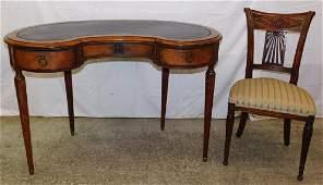 Louis XVI wal Sheraton kidney shaped desk w/ chair.