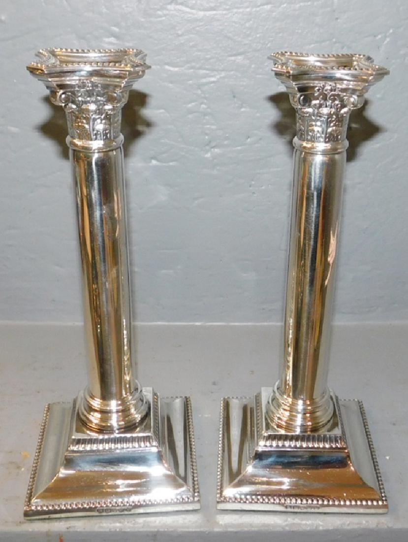 Pr. Silver plated hallmarked Sheffield candlesticks. - 2